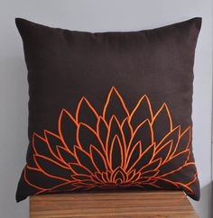 """Need this for my bedroom: Orange Sunflower - Throw Pillow Cover -18"""" x 18"""" Embroidered Decorative Pillow Cover - Dark Brown linen with Orange Flower Embroidery. $21.00, via Etsy."""