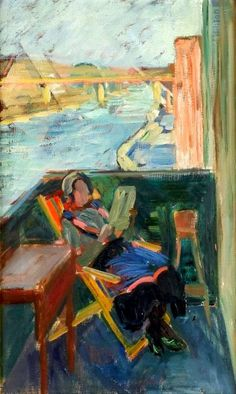 On the balcony by Karl Gustaf Nilsson born July 7, 1889 in Ardre (Gotland), Sweden died December 29, 1980 (91) in Stockholm, Sweden