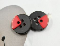 One Quarter of Red Plastic Buttons. 10 in a set. 0.47 inch by Lyanwood, $3.00