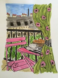 Paris Breakfast Balcony Floral Drapery by fififlowers on Etsy