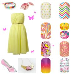 My Little Pony's Fluttershy inspired Jamberry nail pairings. danica.jamberrynails.net