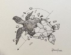 Sketch of a geometric turtle animals - Sketch of a geometric turtle - Animal Sketches, Animal Drawings, Art Sketches, Drawing Animals, Geometric Drawing, Geometric Art, Pencil Art Drawings, Tattoo Drawings, Pen Art
