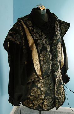 Medieval Black and Gold Slashed Doublet 3XL  by PavaneCostuming, $75.00