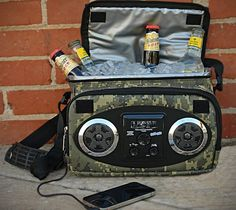 """Camo Chillin Radio Cooler """"Compatible with any smart phone, iPod, or player, and boasting complete connectivity to the radio waves. This soft-sided, fully insulated portable cooler features a. Coolest Cooler, Music Speakers, Beer Cooler, Summer Snacks, Played Yourself, Boombox, Party Packs, Cool Gadgets, Tecnologia"""