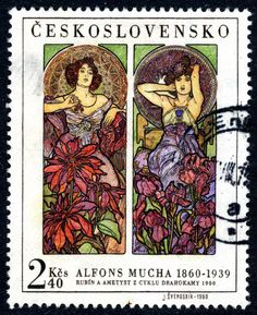 """Czechoslovakia depicting two images from the series """"Precious Stones"""" by Czech art nouveau illustrator and painter Alphonse Mucha. Old Stamps, Rare Stamps, Alphonse Mucha Art, Illustrator, Art Nouveau Poster, Postage Stamp Art, Fauna, Mail Art, Stamp Collecting"""
