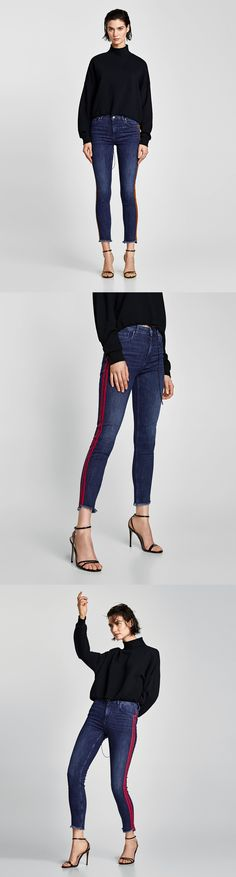 Jeans With Double Side Stripes // 49.90 USD // Zara // Skinny, mid-rise, washed-effect jeans with contrasting double stripes on the sides. They feature five pockets, asymmetric frayed-effect hems and zip and metal top button fastening in the front. HEIGHT OF MODEL: 178 CM / 5′ 10″