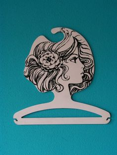 RARE vintage collectible Retro Mod Op Art 1960s - 1970s  plastic black and white boutique clothes coat Hanger Shop Display woman's head