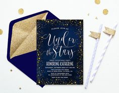 Under The Stars Sweet 16 Invitation, Navy Birthday Invite, Sweet Sixteen Birthday Party, 16th Birthday Invitation
