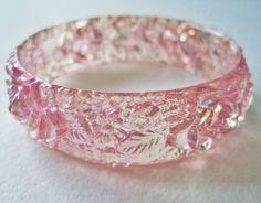 Vintage 60s Retro Art Nouveau RARE Carved Transparent Pink Aurora Borealis Flower Leaf Hard Plastic Bangle Bracelet by ThePaisleyUnicorn, $12.00