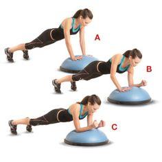 "1) bosu dynamic plank, 2) bosu v-ups with medicine ball, 3) bosu four-point balance, 4) stability ball walk-up crunches, 5) medicine ball inchworm, 6) stability ball leg raise, 7) ""slam ball"" split-squat jumps (not so sure if this is doable at my gym...), 8) stability ball hand walks"