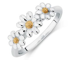 Mum will adore this beautiful combined sterling silver and 10ct yellow gold daisy ring. Great value from Michael Hill at only $99
