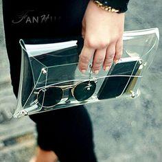 Nouvelle personnalité de la mode tendance casual sacs enveloppes de plastique transparent épaule messager sac à main