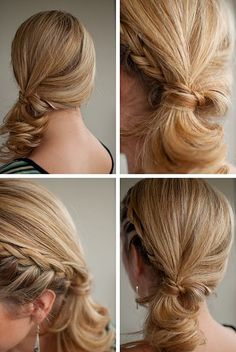 Over 30 hairstyles. Hair Romance - 30 Buns in 30 Days - Day 4 - triple twisted bun hairstyle 30 days of braided hairstyles! Side Ponytail Hairstyles, Side Braid Ponytail, Pretty Hairstyles, Girl Hairstyles, Half Braid, Side Ponytails, Updo Hairstyle, Braided Updo, Wedding Hairstyles