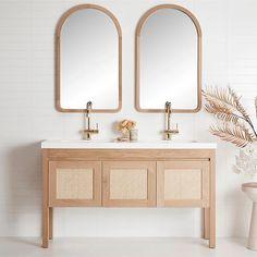 Freo Freestanding Vanity with integrated basins Timber Bathroom Vanities, Timber Vanity, Decoration Inspiration, Bathroom Inspiration, Bathroom Inspo, Bathroom Trends, Basement Bathroom, Bathroom Renovations, Small Bathroom