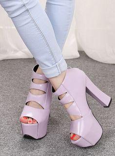 Purple Hollow High Heel Sandals 36.00