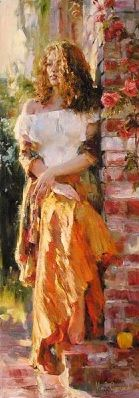 Garmash Artist - M I Garmash Artwork - Waiting in the Courtyard by Garmash