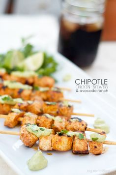 chipotle lime chicken skewers & avocado ranch | bigredclifford.com