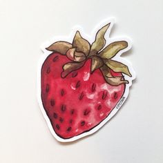 Watercolor Strawberry Vinyl Sticker  Each sticker is made of durable…