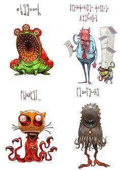 name of monster part 1 120 monsters by Ivan Nikulin, via Behance