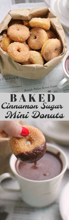 A simple recipe for baked mini cinnamon sugar donuts. This recipe can be used with a mini donut pan or with a mini donut maker!