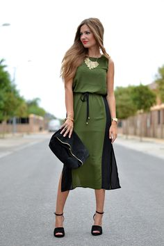 GREEN & BLACK DRESS | Mi aventura con la moda #dress #vestido #casual #verde #midi
