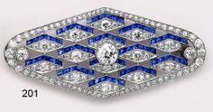 Art Deco Calibré Sapphire, Diamond And Platinum Lozenge-Shaped Brooch - French.