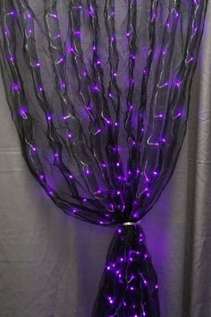 Fun idea for decorating for halloween with leds! Black fabric sash and purple LED lights together makes for one really cool decoration. Soirée Halloween, Holidays Halloween, Homemade Halloween, Halloween Bedroom, Gothic Halloween, Favorite Holiday, Holiday Fun, Fantasias Halloween, Hallows Eve
