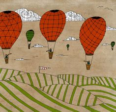 Hot air balloons 16x23 LARGE poster wall art PRINT decor mixed media drawing painting vintage book page nursery kids children illustration. $85.00, via Etsy.