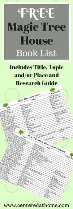 Have you been looking to incorporate Magic Tree House Books into your curriculum? I have created this book list to help you do just that.  via @Centered at Home