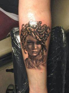 B & G Portrait Medusa tattoo, on lower arm - by Line Marielle Kloosterman