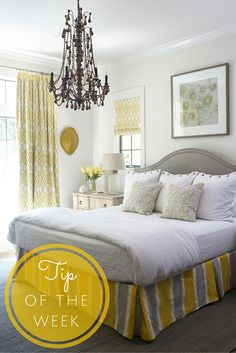 """Replacing an old ceiling fan with a chandelier in a bedroom is an easy change that will really give a room new life."" - Paige Sumblin Schnell 