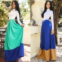 Women Fashion Slim Turn Down Collar High Waist Patchwork Contrast Color Maxi Dress With Belt