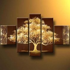 Golden Tree Oil Painting Art Modern Wall Canvas Abstract Wooden Frame Panel New #GoldenTreeOilPainting