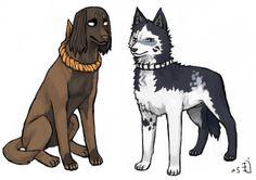Tousen and Hisagi as dogs