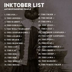 """skyriazeth: """"ayahne: """" dropthedrawing: """" Preparing for Inktober 2017? I am too! And to get inspired, I have put together 8x Inktober prompt lists, to help us create something really cohesive and cool..."""