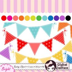 Digital Bunting Clipart Flag Banner Clip Art by DigitalDollface