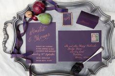 Deep plum and copper calligraphy wedding stationery Art Inspires Life - Part 1 - McKenzie-Brown Photography Calligraphy Wedding Stationery, Wedding Invitation Cards, Bridal Looks, Plum, Wedding Decorations, Copper, Deep, Marketing, Weddings