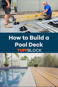 This Pool deck was made possible by using Tuffblocks. TuffBlocks have an ultra low profile of only 2 inchs from the ground to the base where the joist or post sits. If you want to know more about our product please click the video. Deck Foundation, Easy Deck, Raised Deck, Make Build, Building A Pool, Pool Landscaping, Walkway, This Is Us, Shed