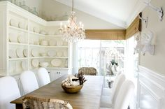 Modern Country Style: How To Successfully Use Farrow and Ball Shaded White Throughout Your Home! Click through for details. White Cottage Kitchens, Dining Cabinet, Home Nyc, Modern Country Style, Swedish Style, Living Room Colors, Cabinet Design, Interior Design Inspiration, White Walls