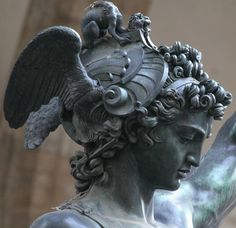 1554 Italian Mannerism by Cellini. Perseus detail, with head of Medusa.  Bronze. Loggio dei Lanzi, Florence