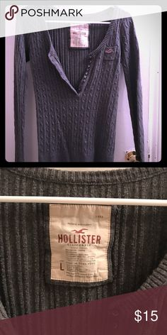 Hollister sweater Grey Hollister sweater, stretchy material. Size large but runs a bit small. Reposhing because it didn't fit the way I wanted it to. Very good condition Hollister Sweaters