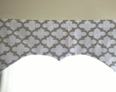 Gray and White valance, Neutral decor valance, moroccan print style for neutral decoration