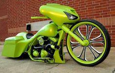 Custom Harley Davidson Motorcycle Big Green Bagger!