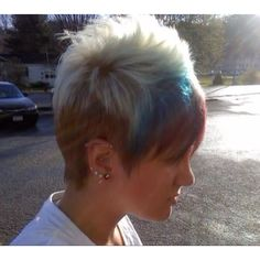 Platinum blue and violet faux hawk