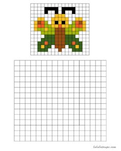 Pixel art, a butterfly to be colored on a grid - Grillen Loom Patterns, Cross Stitch Patterns, Grille Pixel Art, Pixel Pokemon, Tiny Cross Stitch, Graph Paper Art, Pixel Art Templates, Pix Art, Animal Crafts For Kids