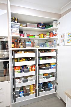 Pantry inspiration, with Blum internal pantries and shelves above to maximise space - Found on Pinterest