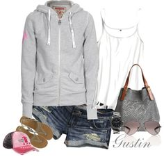{hoodie and shorts, created by stacy-gustin.polyvore.com} Not the hat though...