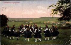 Ansichtskarte / Postkarte Schwälmer Ringelreihen, Hessische Trachten, Kinder tanzen im Kreis #Schwalm