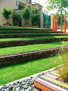 Unique Gabion Wall Garden design - Decorate Your Home Gabion Stone, Gabion Retaining Wall, Cheap Retaining Wall, Landscape Architecture, Landscape Design, Garden Design, Landscape Walls, Fence Design, Wall Design
