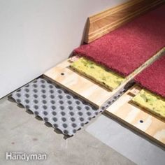 prevent damp basement floors from ruining carpet and other finished flooring. install dimpled polyethylene to create an air space between the concrete and the finished floor, sealing off dampness and giving moisture a chance to dissipate. Insulating Basement Walls, Basement Insulation, Damp Basement, Basement Flooring Options, Basement Guest Rooms, Basement Carpet, Modern Basement, Basement Windows, Basement Finishing